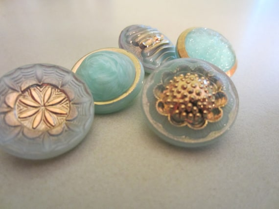 Vintage Buttons Czech beautiful sea blue  vaseline glass. gold hand painted lot of 5 assorted (lot 1024)