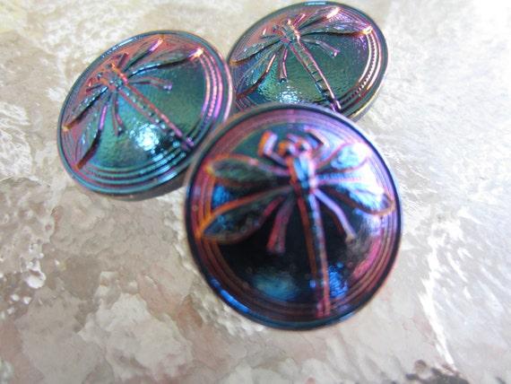 Vintage Buttons - Czech Glass beautiful  iridescent dark blue dragonfly buttons, lot of 3  - (lot 1330)