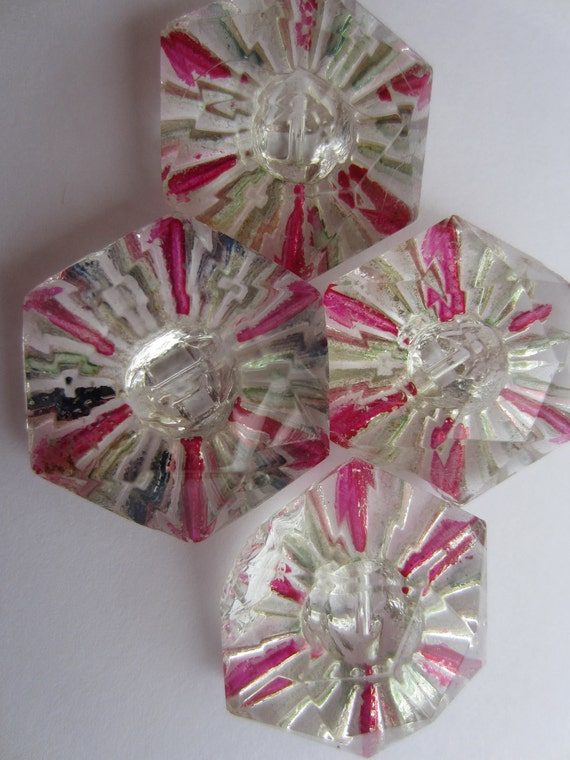 Vintage Buttons  Heavy cut glass very old, matching 1 inch  stripe and clear, lot of 4 (lot 1676)
