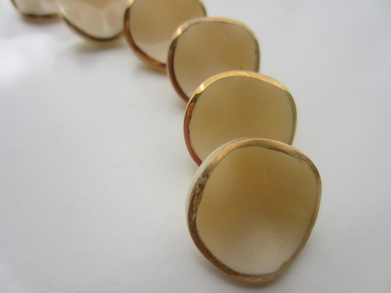 Vintage Buttons- beautiful glass saucer shaped off white with gold rims,6 matching, 3/4 inch,  (lot  1746)