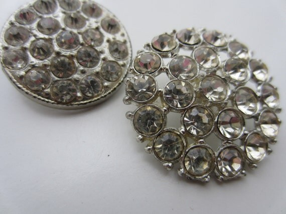 Vintage Buttons - 2 beautiful round  rhinestone embellished, estate sale buttons.(lot 1755)