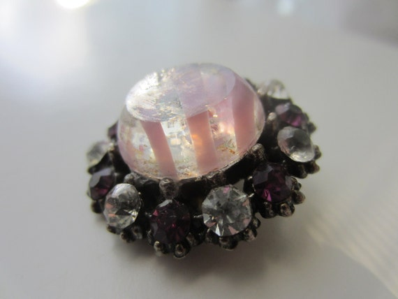 Vintage Buttons - Stunning 1 large  glass center amethyst, rhinestone embellished, estate sale button (lot 1789)