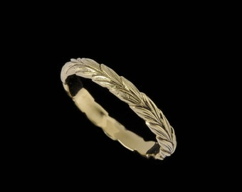 Narrow Leaf Ring Band, Engraved Collection         2507XG