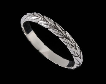 Narrow Leaf Ring Band, Engraved Collection,    2507S