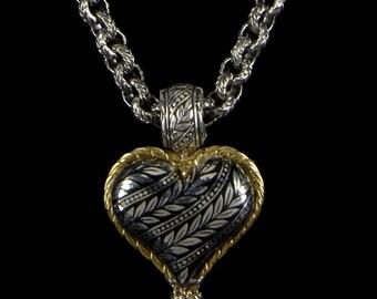 Leaf Necklace with Detachable Heart Pendant, Engraved Collection                                          2105SGXXXXXB