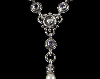 Three Stone Heart Y Necklace with Pearl Drop, B.C. Silver Collection    6161SXAL