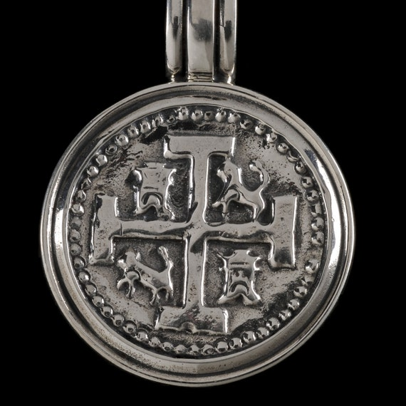 Spanish Coin Medallion Pendant , B.C. Silver Collection               6416S