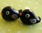 Mini Black Bird/Raven Earring Studs- FREE US/CANADA SHIPPING