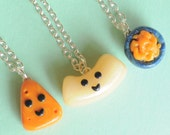 3 Best Friend Necklaces Macaroni and Cheese, BFF Necklaces, BFF Keychain, Kawaii Polymer Clay Charms, Best Friend Gift, Friendship Keychain