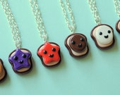 Kawaii 6 Way Peanut Butter and Jelly Best Friend Toast Bread Necklaces Miniature Food Jewelry