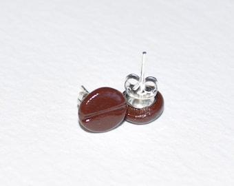 Coffee Bean Earring Studs Polymer Clay