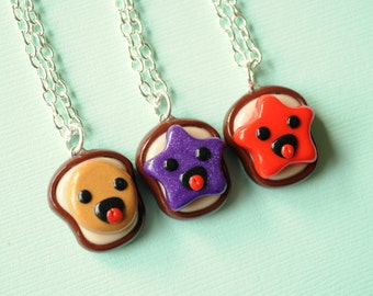 3 Best Friend Necklaces Peanut Butter and Jelly Super Happy Version, BFF Gift, Novelty Gift BFF Necklaces, Kawaii Gift