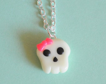 Kawaii Skull Charm with Pink Bow Necklace Glow in the Dark Clay Jewelry