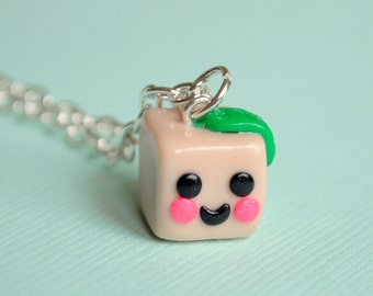 Vegetarian Tofu, Vegan Tofu, Tofu Vegetarian, Tofu Vegan, Kawaii Tofu Necklace, Sculpey Clay