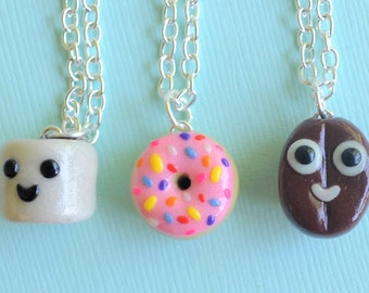 3 Best Friend Necklaces, Polymer Clay, Polymer Clay Charms, Clay Charms, Clay Best Friend Necklaces