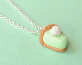 Food Miniature Key Lime Pie Polymer Clay Necklace Food Jewelry