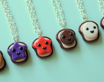 BFF Necklaces 6 Peanut Butter and Jelly Best Friend Toast Bread Necklaces Miniature Food Jewelry, BFF Gift