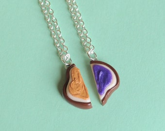 Realistic Best Friend Peanut Butter and Jelly Sandwich Halves Necklaces Miniature Food Jewelry