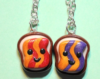 Best Friend Necklaces Peanut Butter and Jelly Goober BFF Necklaces, BFF Gift, Couples Necklaces