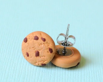 Miniature Chocolate Chip Cookie Earring Studs Food Earrings, Chocolate Chip Studs, Polymer Clay