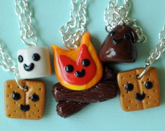 5 BFF Necklaces Smores and Campfire, BFF Necklaces, Best Friend, Friendship Necklaces, BFF Gift, Polymer Clay Food Miniature Jewelry