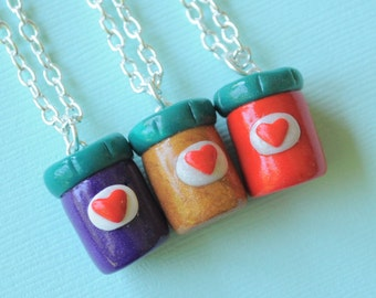 3 Best Friend Necklaces Peanut Butter and Jelly Jars, BFF Charms, Novelty Gift