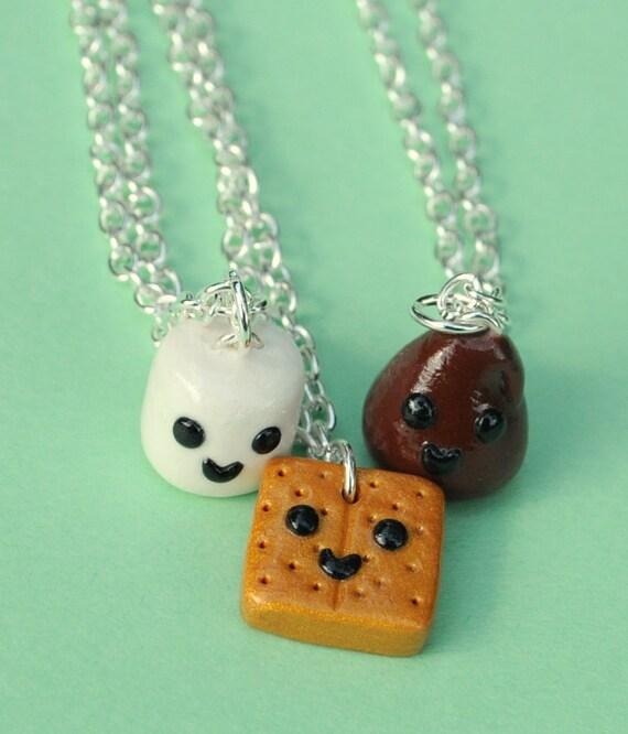 3 best friend necklaces smores miniature by pumpkinpyeboutique