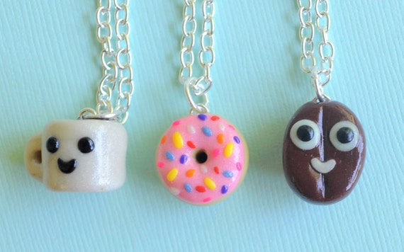 3 Best Friend Necklaces Coffee Bean, Doughnut and Mug Charms Polymer Clay, BFF Charms, Novelty Gift