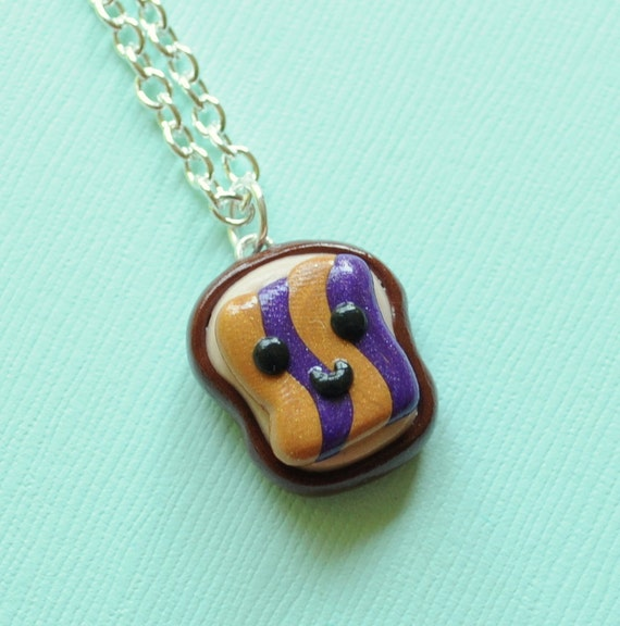 Peanut Butter and Jelly Goober Necklace Miniature Food Jewelry, Toast, Bread, Kawaii Charms