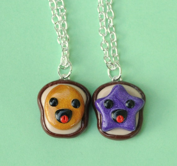 Best Friend Peanut Butter and Jelly Bread Toast Super Happy Polymer Clay Necklaces Kawaii Miniature Food Jewelry