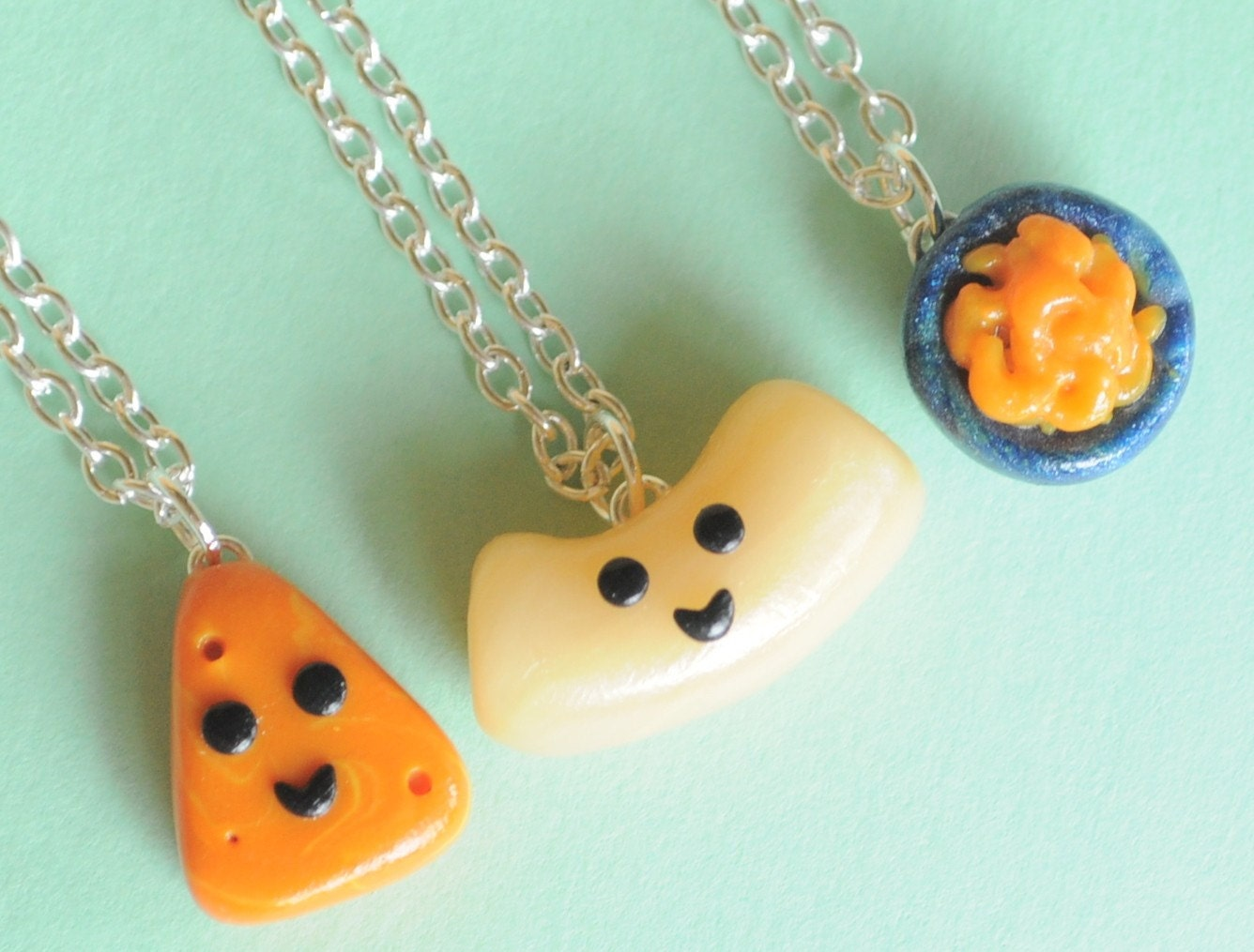 3 best friend necklaces macaroni and cheese bff necklaces