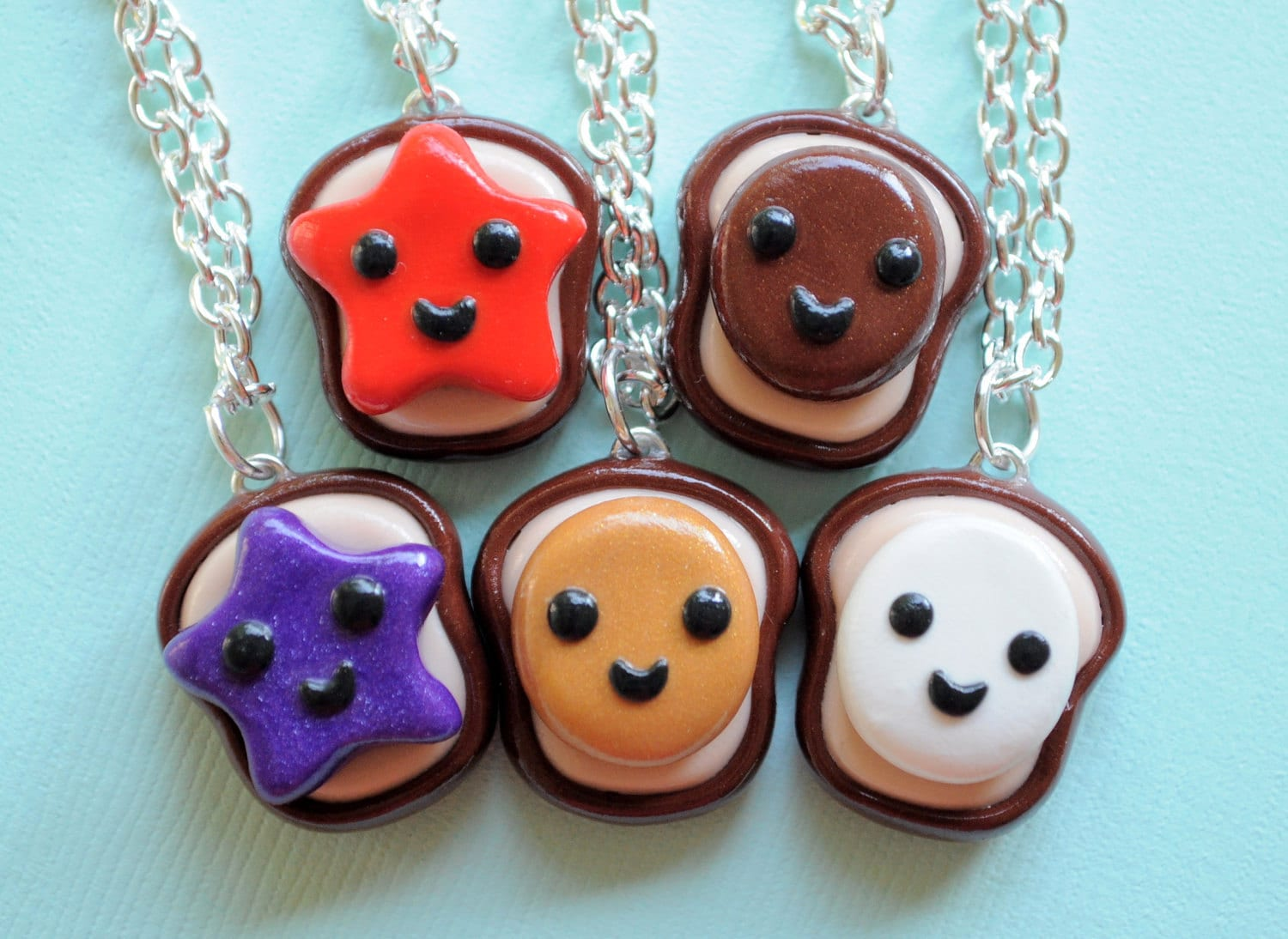 5 best friend peanut butter and jelly necklace set friendship