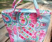 Insulated Lunch Tote - Floral Paisley Pink and Blue