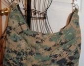 USMC Hobo Purse, MARPAT Woodland Camouflage, Made by Approved USMC Hobbyist, License 11651