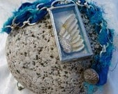 Soldered Glass Necklace Angel Wing Collage Shadow Box Blue Yellow Silver Silk Ribbon Pendant