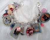 Charm Bracelet Cat and Mouse Mixed Media Jewelry Pink Gray Upcycled Vintage Button Jewelry
