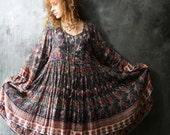 Vintage 70s 80s Hippie India Dress. Sheer Wispy Cotton Woodstock Gypsy Festival Huge Sweep Skirt Trumpet Sleeves
