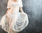 SALE 20% off Coupon Code IMFREEZING Vintage 80s Sweetest Fairy Angel Lace Dress. Drop waist, full skirt, flutter sleeves