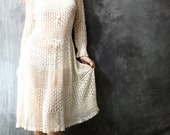 SALE 20% off Coupon Code IMFREEZING Vintage 70s 80s Snow Fairy Hand Crochet Dress