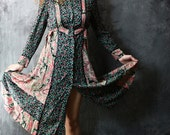 Vintage 1970s Hippie Peasant Maiden Dress Cute Calico and Paisley . Ties on each side . SALE 20% off  Use Coupon Code SUNFLOWER