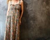 Vintage 1960s 1970s Hippie Calico Sun Dress with Lace Up Smocked Bodice,  Ruffle Hem