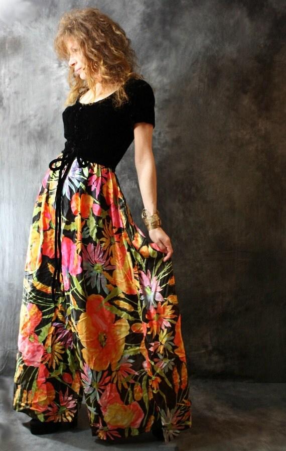 15% off SALE Use Coupon Code Sunflower7  Vintage 1970s Dress Palazzo Pantsuit // Pant Suit, Velvet Bodice, Groovy Vera Flower