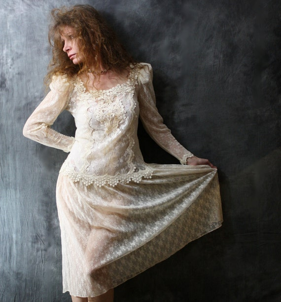 Vintage 80s Dreamy Romantic Victorian Sheer Netted Lace Wedding Dress with Applique Trim .  SALE 20% off  Use Coupon Code SUNFLOWER