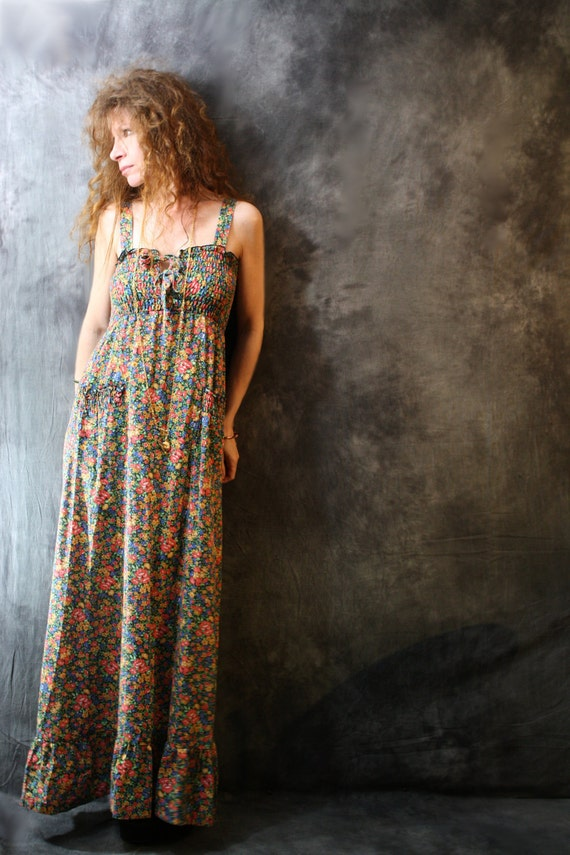Vintage 1960s 1970s Hippie Calico Sun Dress with Lace Up Smocked Bodice,  Ruffle Hem