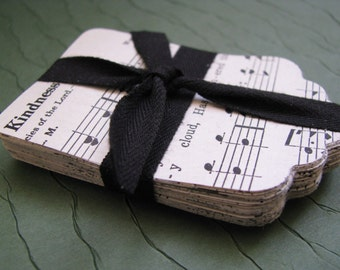 Vintage Church Hymnal Hand Punched Tags. Sacred Songs