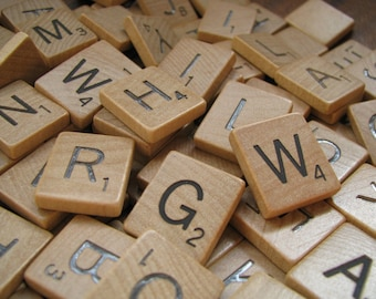 Vintage Wooden Scrabble Tiles. Set of 20