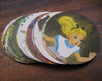 Vintage Hand Punched Disney Children's Book Illustrations 2 Inch Circles