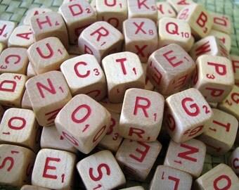 Vintage Scrabble Wooden Crossword Red Letter Dice Set of 10