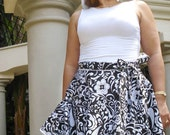 Lia's Black and White Floral Summer Wrap Skirt wraps up to 44' waist Free Shipping