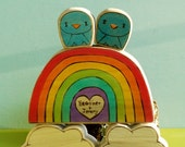 Personalized Wedding Cake Topper Love Gift Rainbow  and Clouds with Sweetheart and Little Tweet Bird Pair